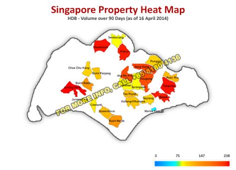 HDB – Price Per Square Ft over 90 days (via http://www.dwg.com.sg)